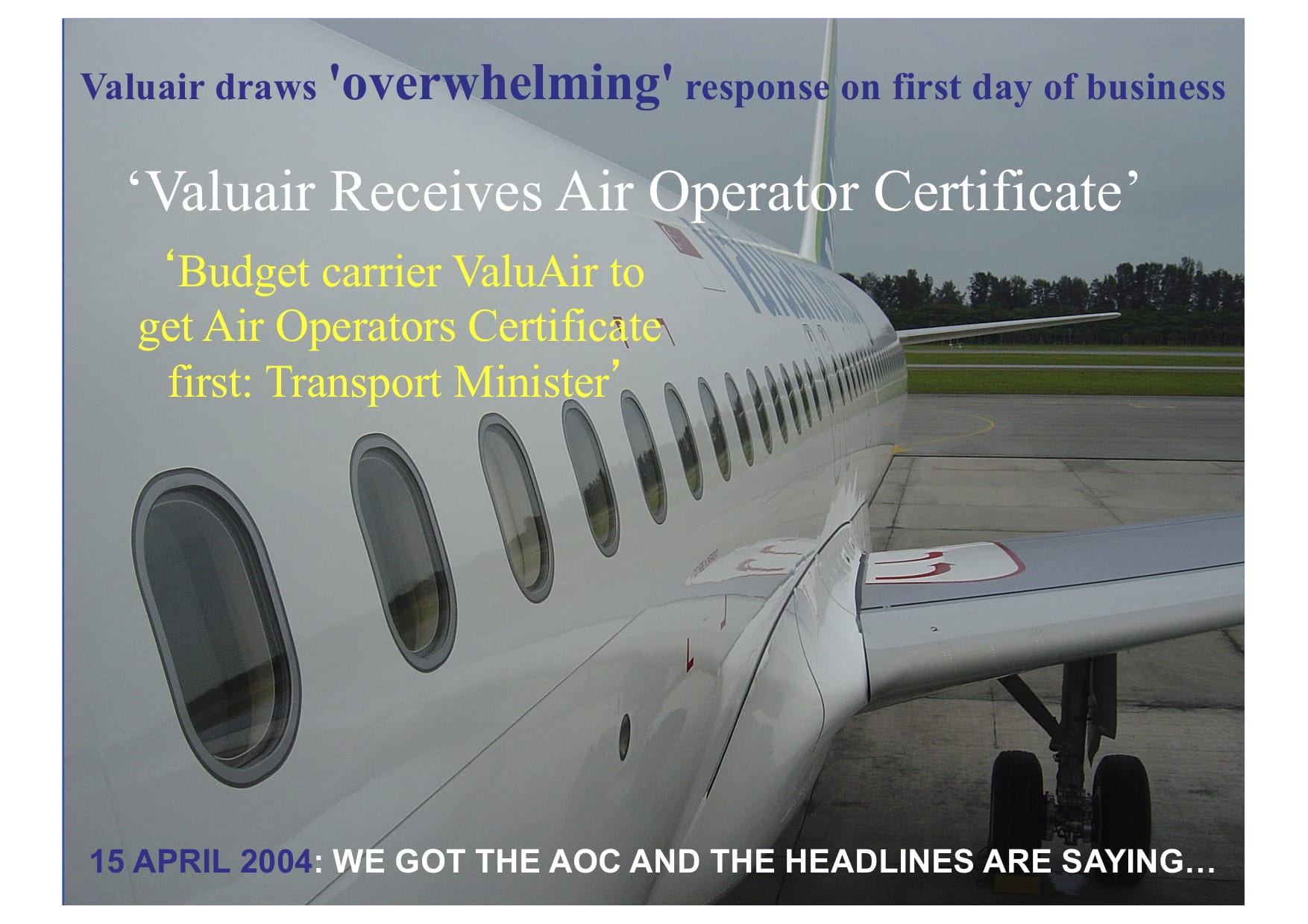 Valuair Airlines gets AOC 2004