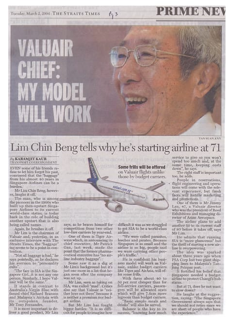 Valuair airline founder Lim Chin Beng